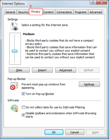 Internet Explorer Cookies - Privacy